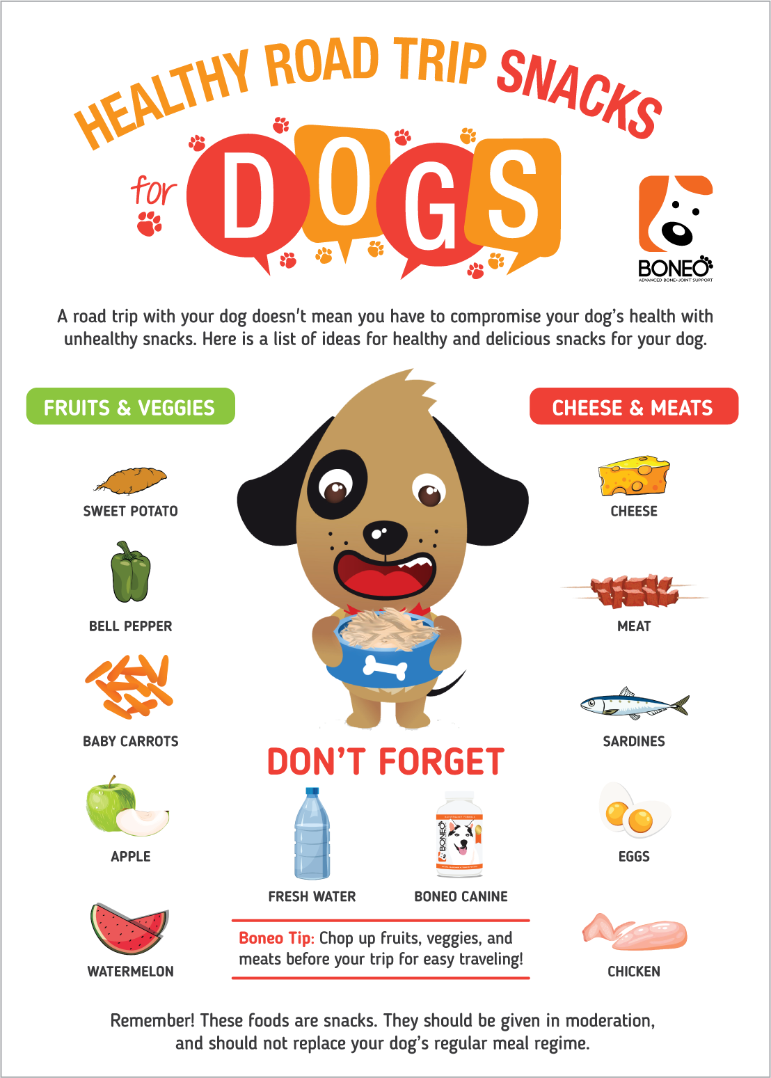 Road Trip Snacks for Dogs Infograph